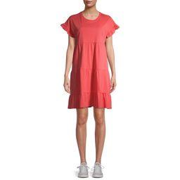 Time and Tru Women's Flutter Tiered Dress | Walmart (US)