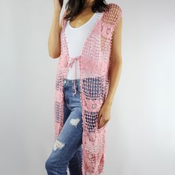 Simply Irresistible Women's Dusters Blush - Blush Floral Crochet Tassel-Hem Sleeveless Duster - Wome   Zulily
