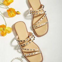 Studded Decor Slide Sandals   SHEIN