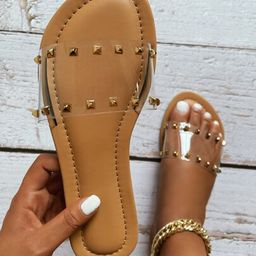 Clear Spiked Decor Slide Sandals   SHEIN