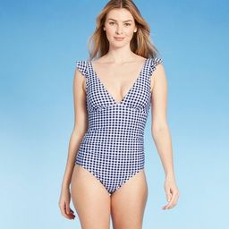 Women's Ruffle Gingham High Coverage One Piece Swimsuit - Kona Sol™ Navy | Target