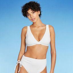 Women's V-Kini Bikini Top - Sea Angel White Dot Print | Target
