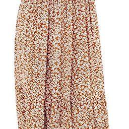 Kranda Women's Round Neck Short Flutter Sleeve Smocked Ruffle Floral Maxi Dress | Amazon (US)