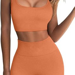 FAFOFA Workout Sets for Women 2 Piece Seamless Ribbed Crop Tank High Waist Shorts Yoga Outfits   Amazon (US)