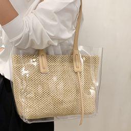 Clear Minimalist Straw Bag | SHEIN