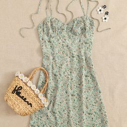 SHEIN Knotted Shoulder Ruched Bust Ditsy Floral Cami Dress | SHEIN