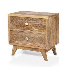 Furniture of America Carina Solid Wood Bohemian Nightstand | Overstock
