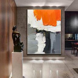 Large Original Gray Abstract Painting Orange Painting Modern   Etsy   Etsy (US)