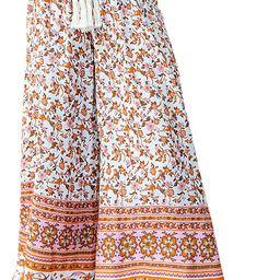 Miessial Women's Summer Boho Tie Waist Pants Loose Wide Leg Beach Hippie Pants with Tassel | Amazon (US)