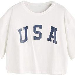 HUILAN Women's USA Letter Print Crop Tops Summer Short Sleeve T-Shirt | Amazon (US)