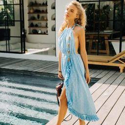 Adela Halterneck Dress in Serenity Blue   outdazl