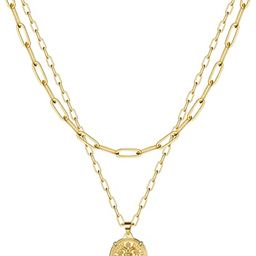 MONOOC Choker Necklaces for Women, Dainty 14K Gold Plated Layered Medallion Choker Necklace, Simp... | Amazon (US)
