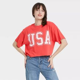 Women's USA Short Sleeve Cropped Graphic T-Shirt - Red | Target
