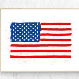 Printable American Flag Wall Art 4th of July Print Patriotic | Etsy | Etsy (US)