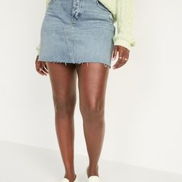 High-Waisted Button-Fly Ripped Cut-Off Jean Skirt for Women | Old Navy (US)
