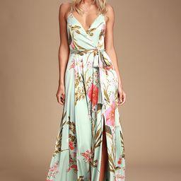 Still the One Sage Green Floral Print Satin Maxi Dress   Lulus (US)
