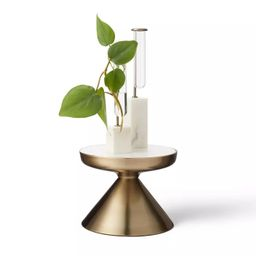 """6"""" x 7.5"""" Iron and Marble Plant Stand Gold - Hilton Carter for Target 