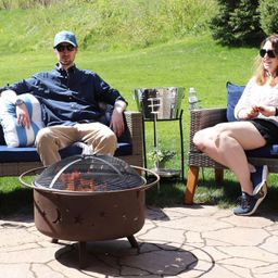 Sunnydaze Outdoor Camping or Backyard Round Cosmic Stars and Moons Fire Pit with Cooking Grill Gr...   Target