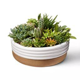 Ribbed Ceramic Stoneware Planter White/Natural - Hilton Carter for Target | Target