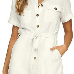 Vetinee Womens Summer Pocket Belted Romper Button Short Sleeve Jumpsuit Playsuit | Amazon (US)