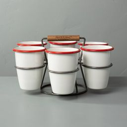 7pc Drink Caddy Set Red/Cream - Hearth & Hand™ with Magnolia   Target