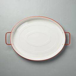Oval Enamel Serve Tray with Handles Red/Cream - Hearth & Hand™ with Magnolia   Target