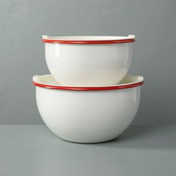 2pk Enamel Serve Bowls with Lids Red/Cream - Hearth & Hand™ with Magnolia   Target