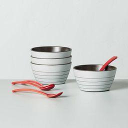 8pc Bamboo Melamine Stripes Dessert Bowl & Spoon Set Light Gray - Hearth & Hand™ with Magnolia   Target