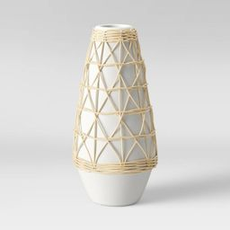 "12"" x 6"" Rattan Ceramic Vase White - Opalhouse™   Target"