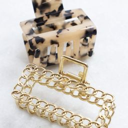 Worth So Much More Tortoise/Gold 2 Piece Hair Clip Set | The Pink Lily Boutique