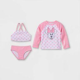 Toddler Girls' Minnie Mouse Long Sleeve Rash Guard Set - Pink | Target