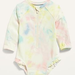Printed Zip-Front Rashguard One-Piece Swimsuit for Baby | Old Navy (US)