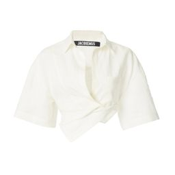 Capri Oversized Twisted Linen Cropped Shirt | Moda Operandi (Global)