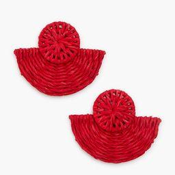 Red Basketweave Fan Earrings | Tuckernuck (US)