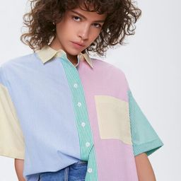 Colorblock Pinstriped Shirt | Forever 21 (US)