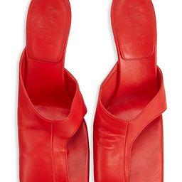 Square-Toe Cutout Leather Mules   Saks Fifth Avenue