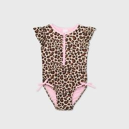 Toddler Girls' Leopard Print Zip-Front Flutter Sleeve One Piece Swimsuit - Cat & Jack™ Brown   Target