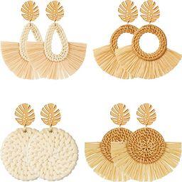 4 Pairs Rattan Earrings Lightweight Geometric Statement Tassel Woven Bohemian Earrings Handmade S... | Amazon (US)