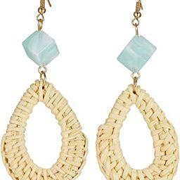 Rattan Earrings Handmade Straw Statement Bohemian Lightweight Drop Dangle Geometric Woven Wicker ... | Amazon (US)