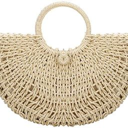 Straw Bags for Women, Large Hand-woven Straw Bag Round Handle Ring Tote Retro Summer Beach Bag | Amazon (US)