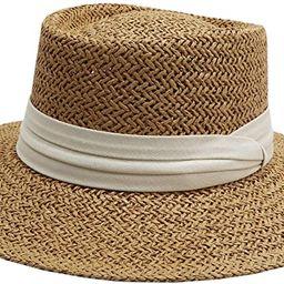 jiaoji Women's Straw hat Panama hat Tweed hat Beach Sun hat Wide Brim | Amazon (US)
