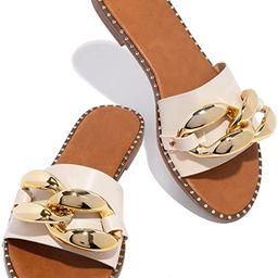 Women's Flat Heels Open Toe Backless Slippers Metallic Chains Slip On Summer Indoor Outdoor Slide... | Amazon (US)