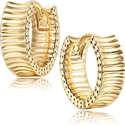 Mevecco Gold Dainty Huggie Hoop Earring,18K Gold Plated Cute Tiny Drop Ball Hoop Earrings for Wom... | Amazon (US)