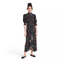 Polka Dot Mock Neck Cascade Ruffle Dress - RIXO for Target Black | Target