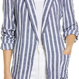 Open Front Stripe Linen Blend Blazer | Nordstrom