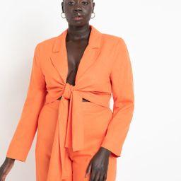 Tie Front Crop Blazer | Women's Plus Size Coats + Jackets | ELOQUII | Eloquii