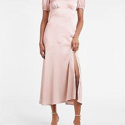 Satin Puff Sleeve V-Neck Maxi Dress   Express
