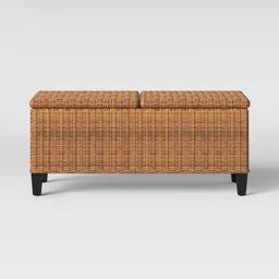 Fullerton Steel Wicker Patio Folding Storage Coffee Table Brown - Project 62™ | Target