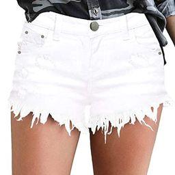 MODARANI Cut Off Denim Shorts for Women Frayed Distressed Jean Short Cute Mid Rise Ripped Hot Sho... | Amazon (US)