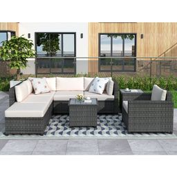 Hillcroft Wicker/Rattan 5 - Person Seating Group with Cushions   Wayfair North America